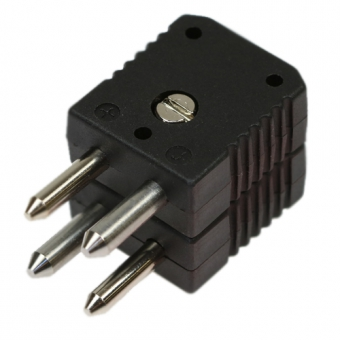 Standard double thermocouple connector, type J, black