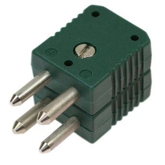 Standard double thermocouple connector, type K, green