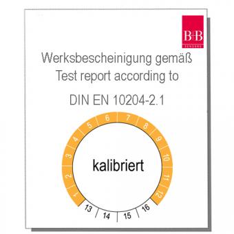 Werksbescheinigung gem. DIN EN 10204-2.1 ( Chargenzeugnis)