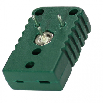 Miniature socket for PCB (printed circuit board) mounting, type K, green