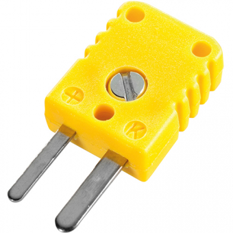 Miniature thermocouple connector, type K, yellow