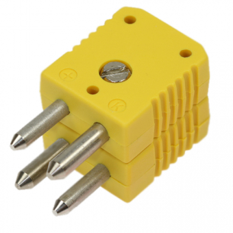 Standard double thermocouple connector, type K, yellow