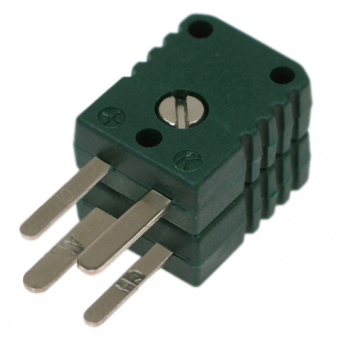Miniature double thermocouple connector, type K, green