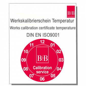 ISO Works calibration certificate for temperature measuring devices