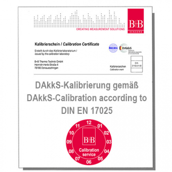 Standard DAkkS Works calibration certificate for temperature sensors