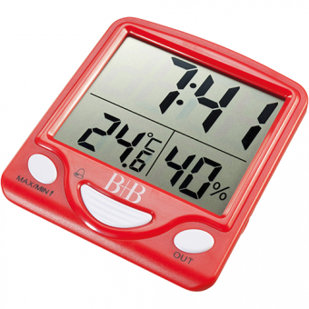 Hygro-thermometer with outdoor probe, alarm and snooze button