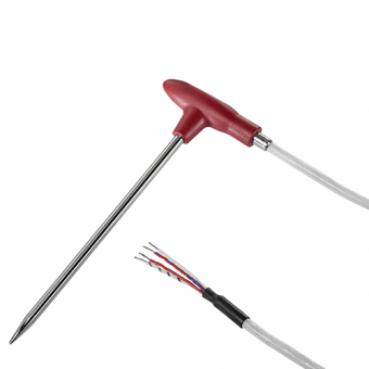Penetration temperature probe 1xPt1000/B/4 with centric penetration tip and angled handle, NL 100