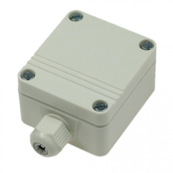 Universal plastic housing with flat cover and cable gland