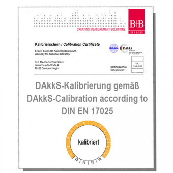 DAkkS Calibration Certificate for temperature measuring system