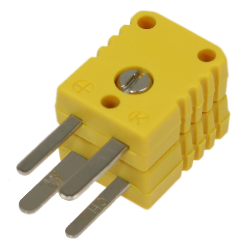 Miniature double thermocouple connector, type K, yellow