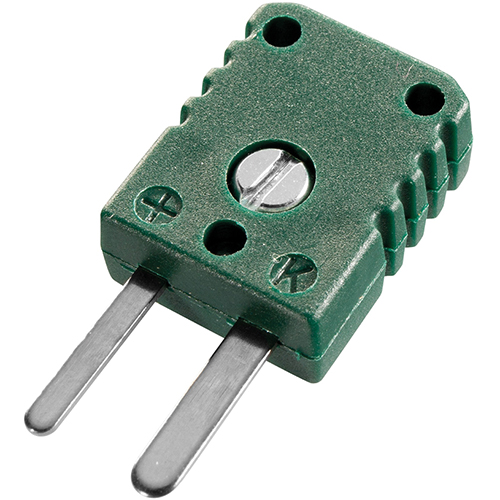 Miniature thermocouple connector, type K, green