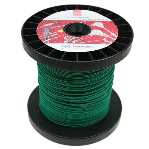 Thermocouple wire 2 x 0.20 mm, type K NiCr-Ni, glass fibre covered, 100 m